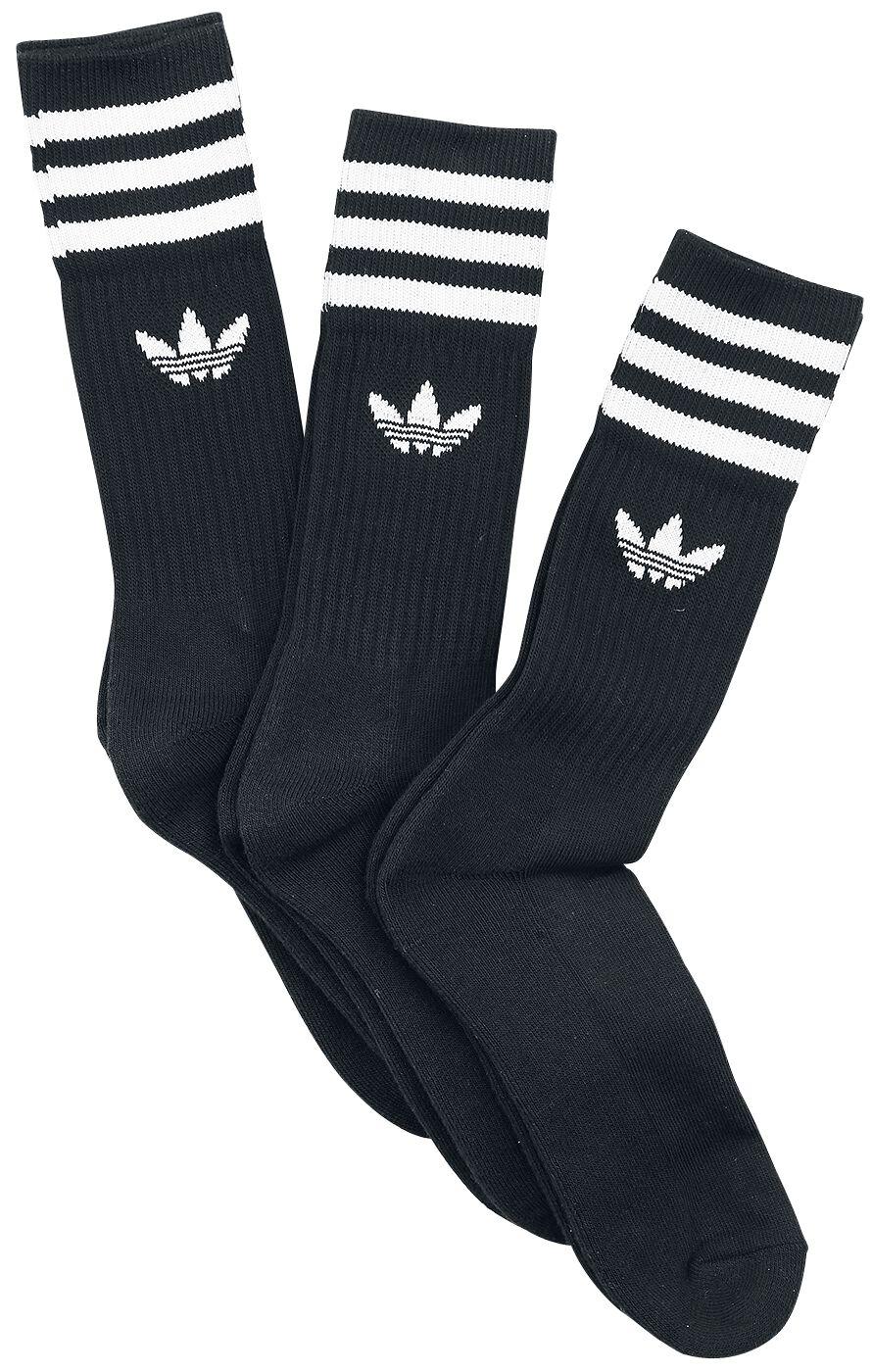 Socken für Frauen - Adidas Solid Crew Sock 3 Pack Socken schwarz weiß  - Onlineshop EMP