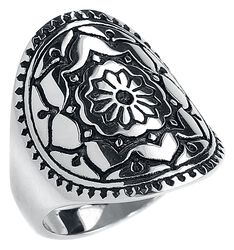 Silver Mandala Flower Ring