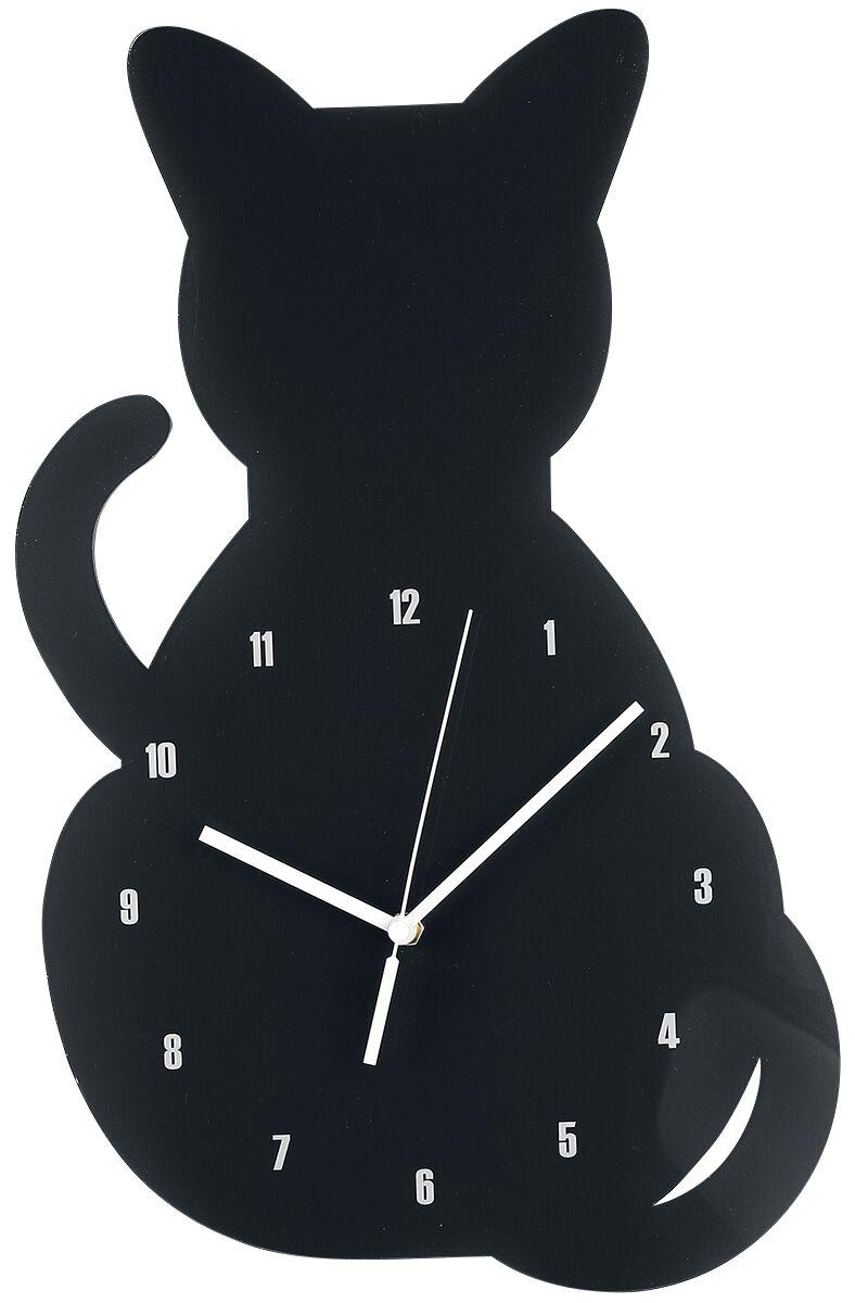 Acryl - Wanduhr Katze  Wanduhr  schwarz