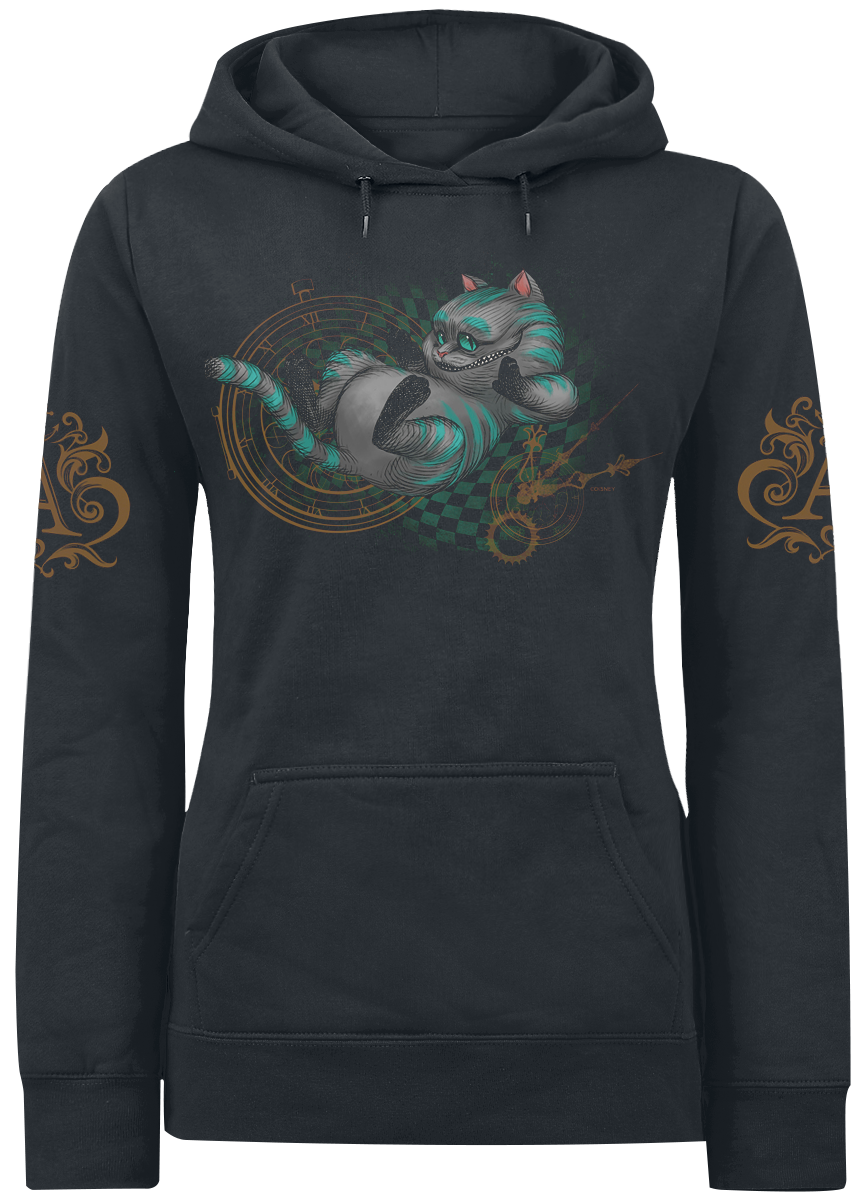Alice in Wonderland - Cheshire Cat - About Time - Girls hooded sweatshirt - black image