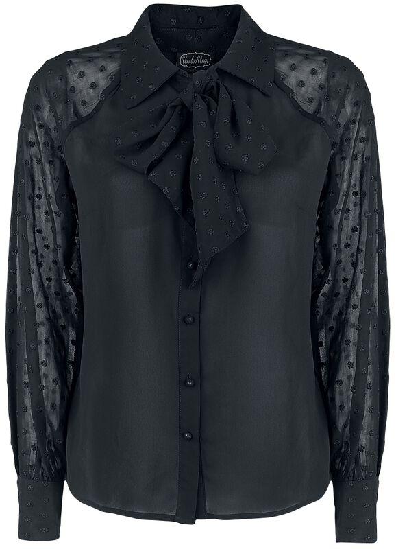 Winona Black Neck Tie Chiffon Blouse