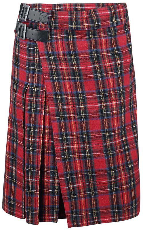 Roter Kilt mit seitlichen Schnallen