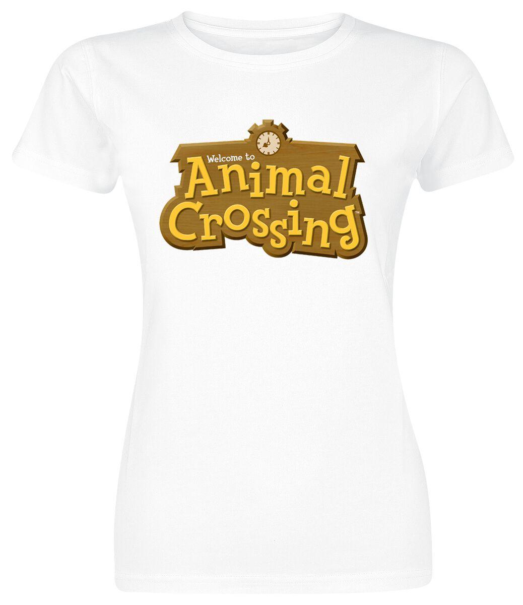 Image of Animal Crossing Logo Girl-Shirt weiß