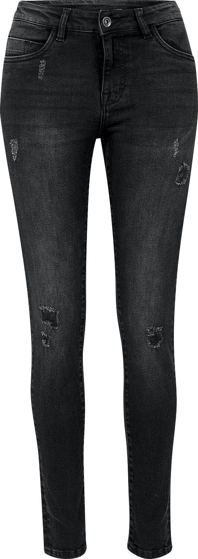 Hosen für Frauen - Urban Classics Ladies Ripped Denim Pants Jeans schwarz  - Onlineshop EMP