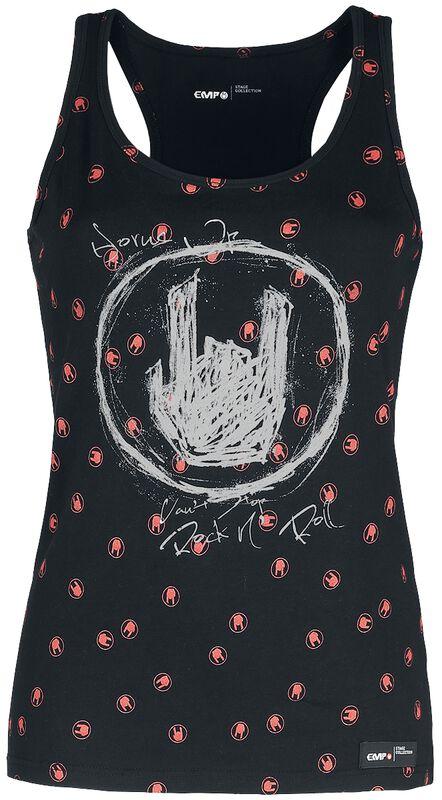 Schwarzes Top mit Rockhand-Print