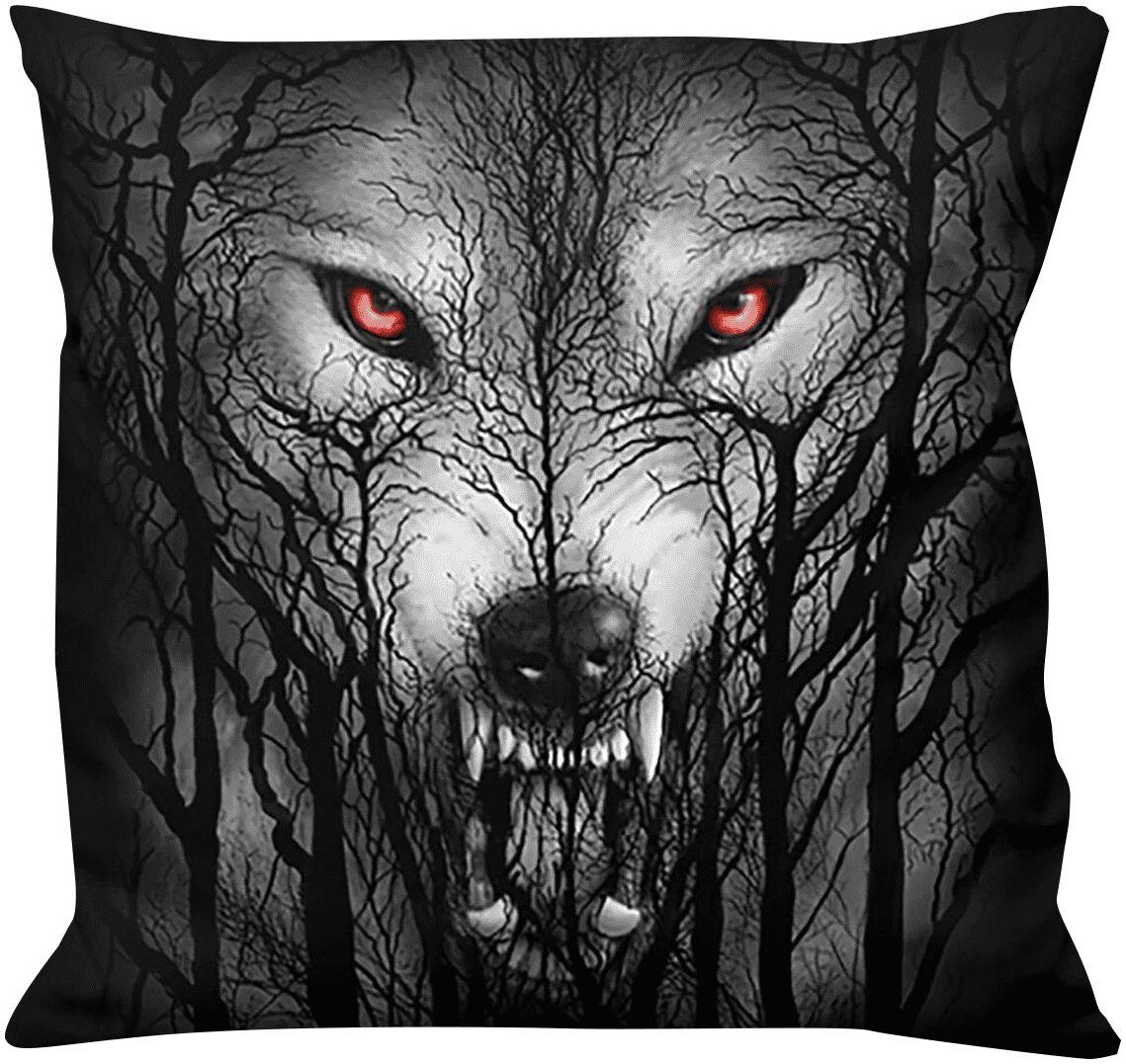 Spiral Forest Wolf  Kissen  schwarz