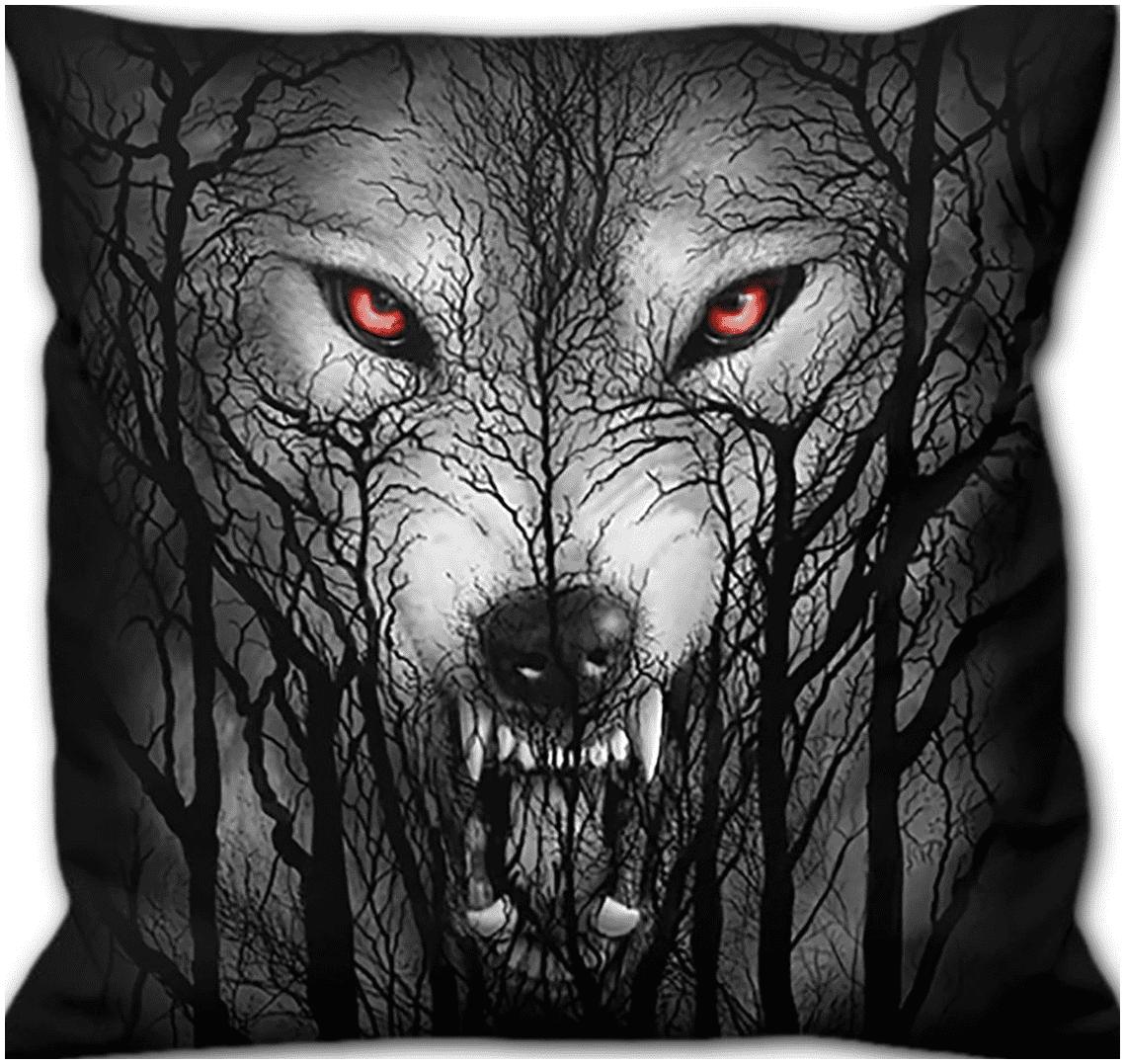 Spiral - Forest Wolf - Kissen - schwarz