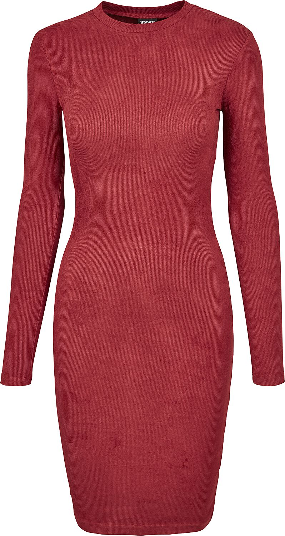 Kleider - Urban Classics Ladies Peached Rib Dress LS Mittellanges Kleid burgund  - Onlineshop EMP