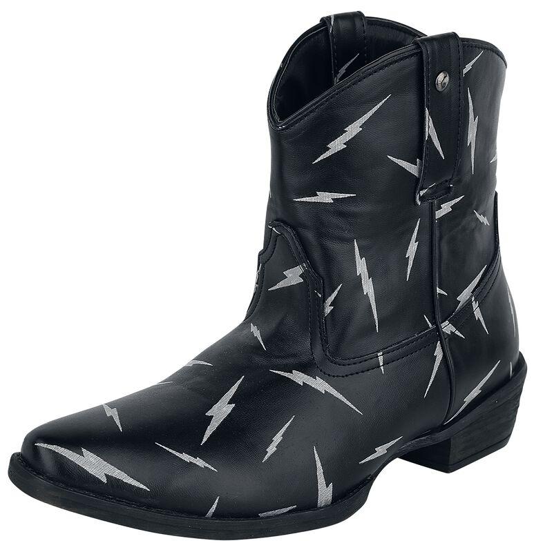 Schwarze Cowboy-Boots mit Alloverprint mit Blitz-Motiv