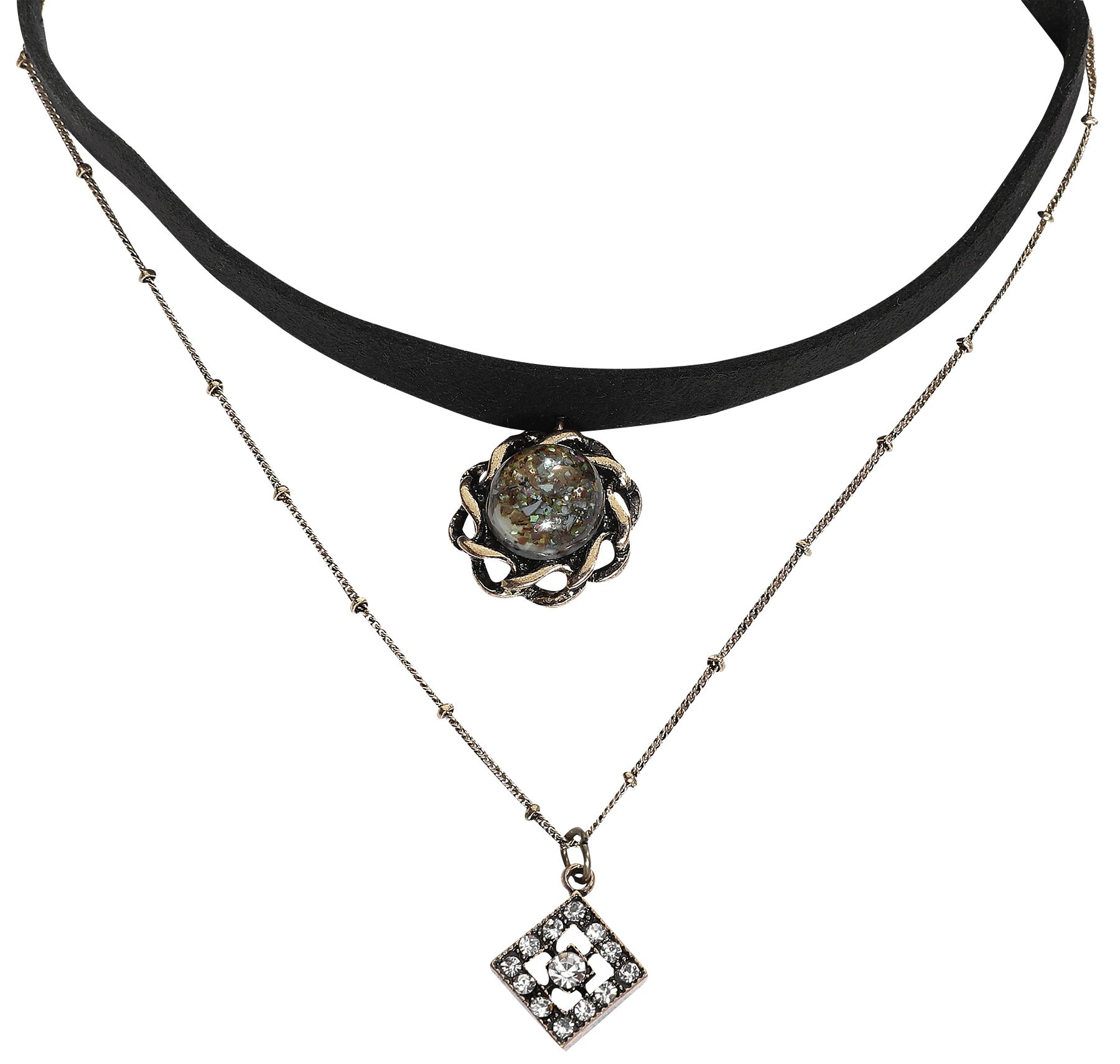 Antikblume Halsband schwarz goldfarben N121167 NS01