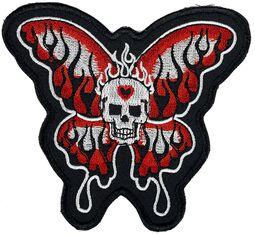 Totenkopfpatch mit Schmetterlingsflügeln