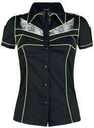 Schwarzes Kurzarmhemd mit neonfarbenen Details und transparenten Einsätzen