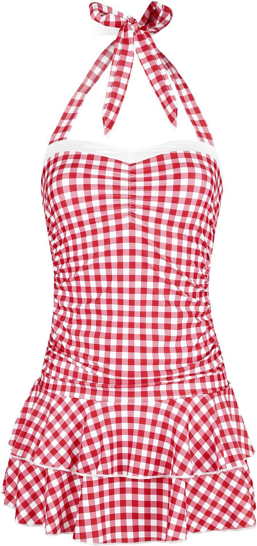 Pussy Deluxe Plaid Swimsuit Badekleid rot weiß 39214