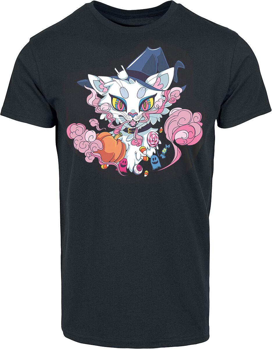 Halloween Cat T-Shirt schwarz POD - BY083 - Halloween Cat