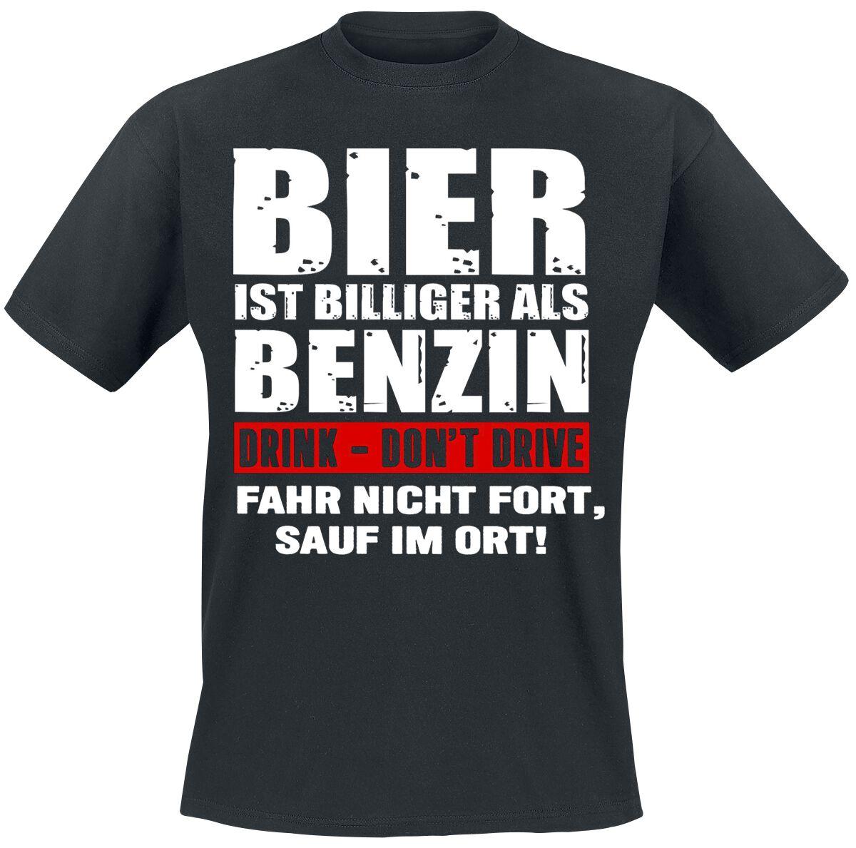 Bier ist billiger als Benzin T-Shirt schwarz 4049