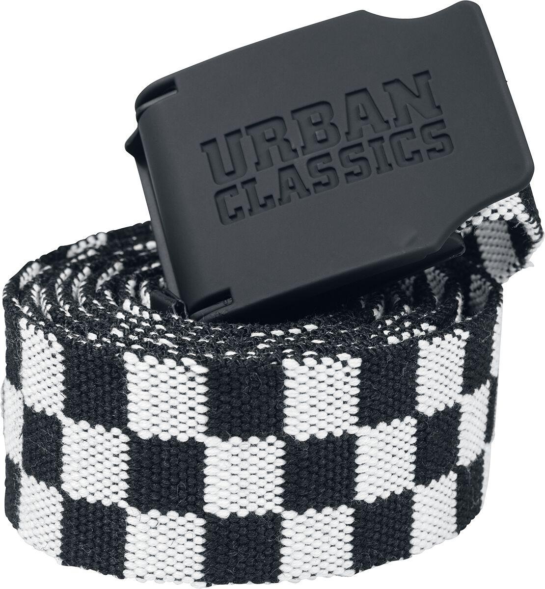 Urban Classics UC Canvas Belt Checkerboard 150cm Gürtel schwarz weiß TB2248 blk/wht