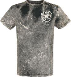 Graues T-Shirt mit Waschung und Patches