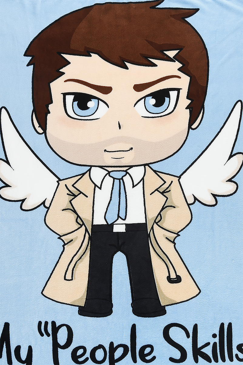 Image of Supernatural Chibi Castiel Fleece-Decke multicolour