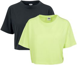 Ladies Short Oversized Neon Tee Double Pack
