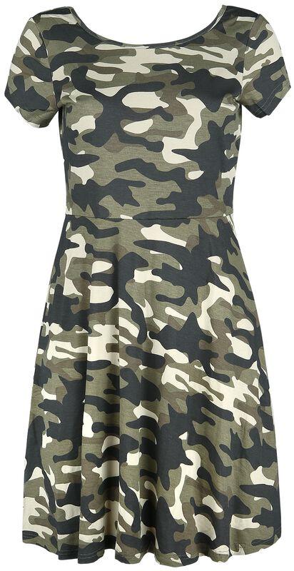 Kleid mit Camouflage Muster und dekorativer Schnürung