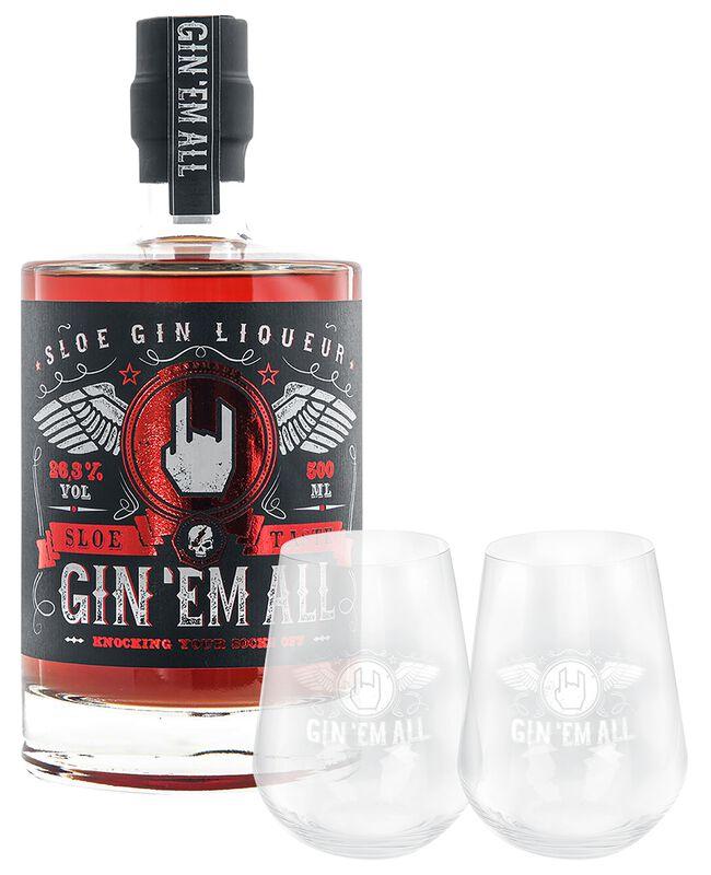 Liqueur Sloe Gin mit 2 Gläsern