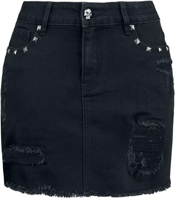 Schwarzer Jeansrock mit hinterlegten Rissen und Nieten