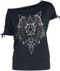 Gothicana X Anne Stokes - Schwarzes T-Shirt mit Print und Schnürung