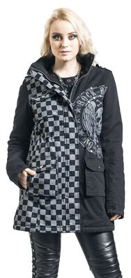 schwarz/graue Jacke mit Nieten und Print