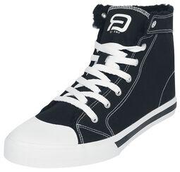 Schwarze gefütterte Sneaker