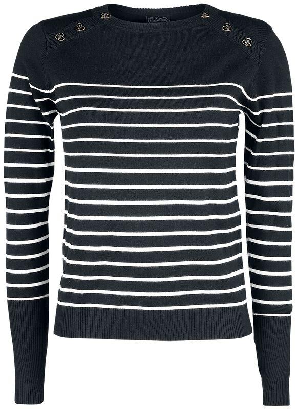 Black Sea Striped Crew Neck Sweater