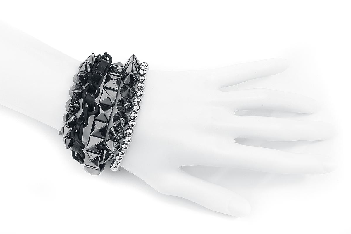 Image of Blackheart Silver Spikes Armband-Set schwarz/silberfarben