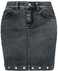 Jeansrock mit Ösen am Saum