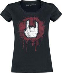Schwarzes T-Shirt mit Rockhand-Print