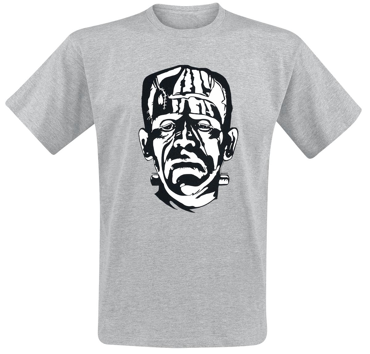 Frankenstein - Face - T-Shirt - mottled grey image