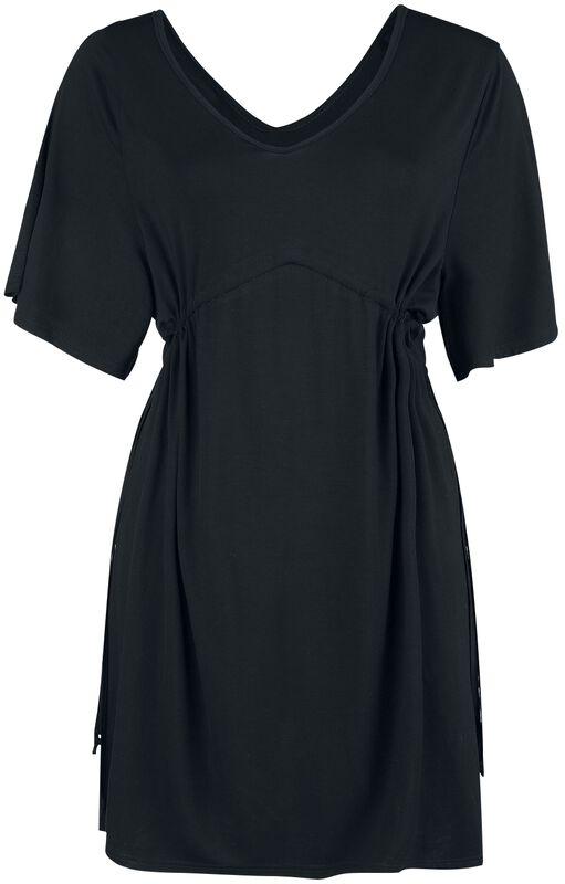 Schwarzes Kleid mit weiten Ärmeln und Raffung in der Taille