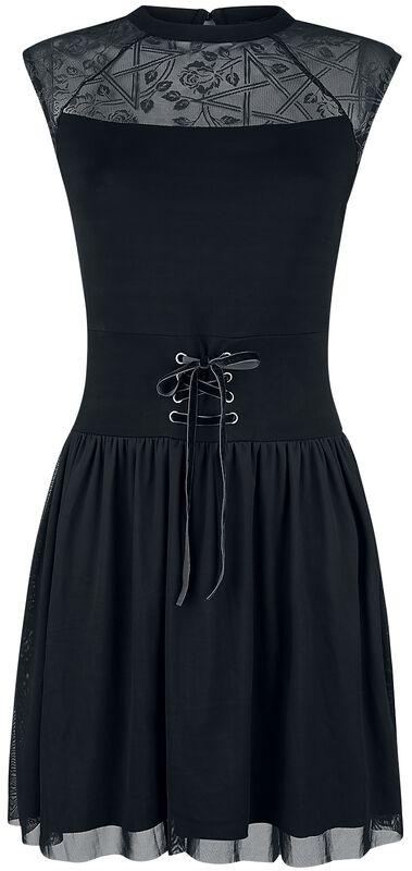 Schwarzes Kleid mit Mesh, Schnürung und Print