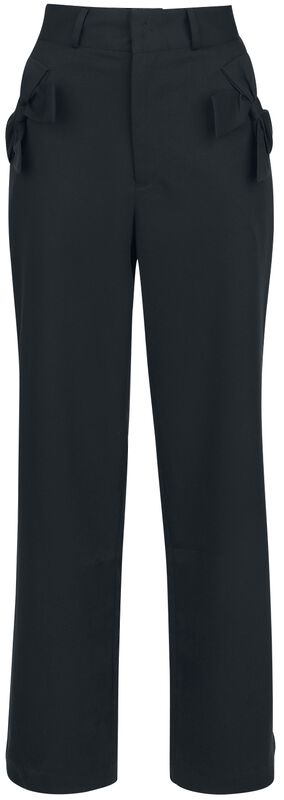 Patty Black Bow Pocket Solid Trouser