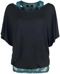 Double Layer T-Shirt schwarz mit grünem Spitzentop