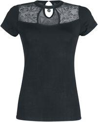 Schwarzes T-Shirt mit transparenten Details