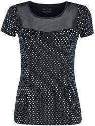 schwarzes T-Shirt mit transpatentem Ausschnitt und weißen Punkten