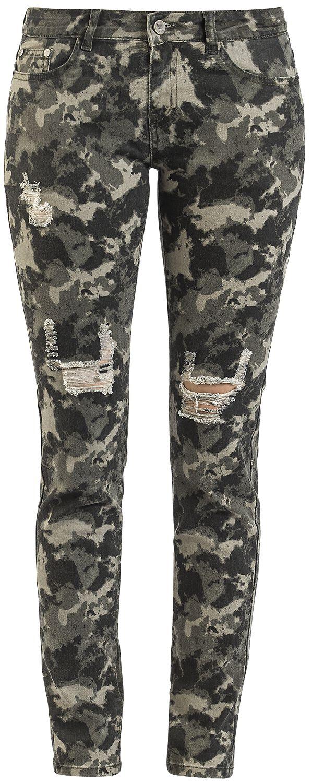 Hosen - Black Premium by EMP Skarlett Jeans camouflage oliv  - Onlineshop EMP