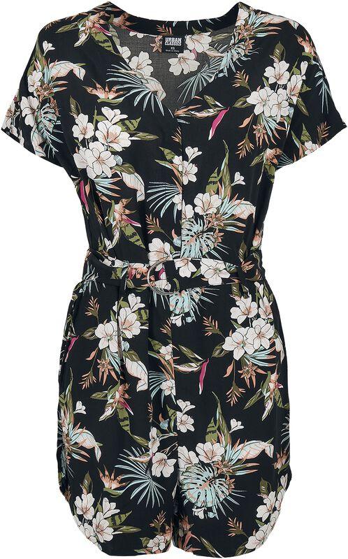 Ladies Short AOP Flower Viscose Belt Jumpsuit