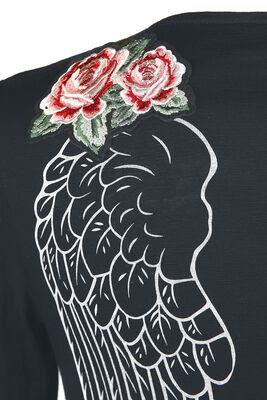 Schwarzer Cardigan mit Patches und Print
