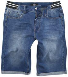 Blaue Jeansshorts mit gestreiftem Bund