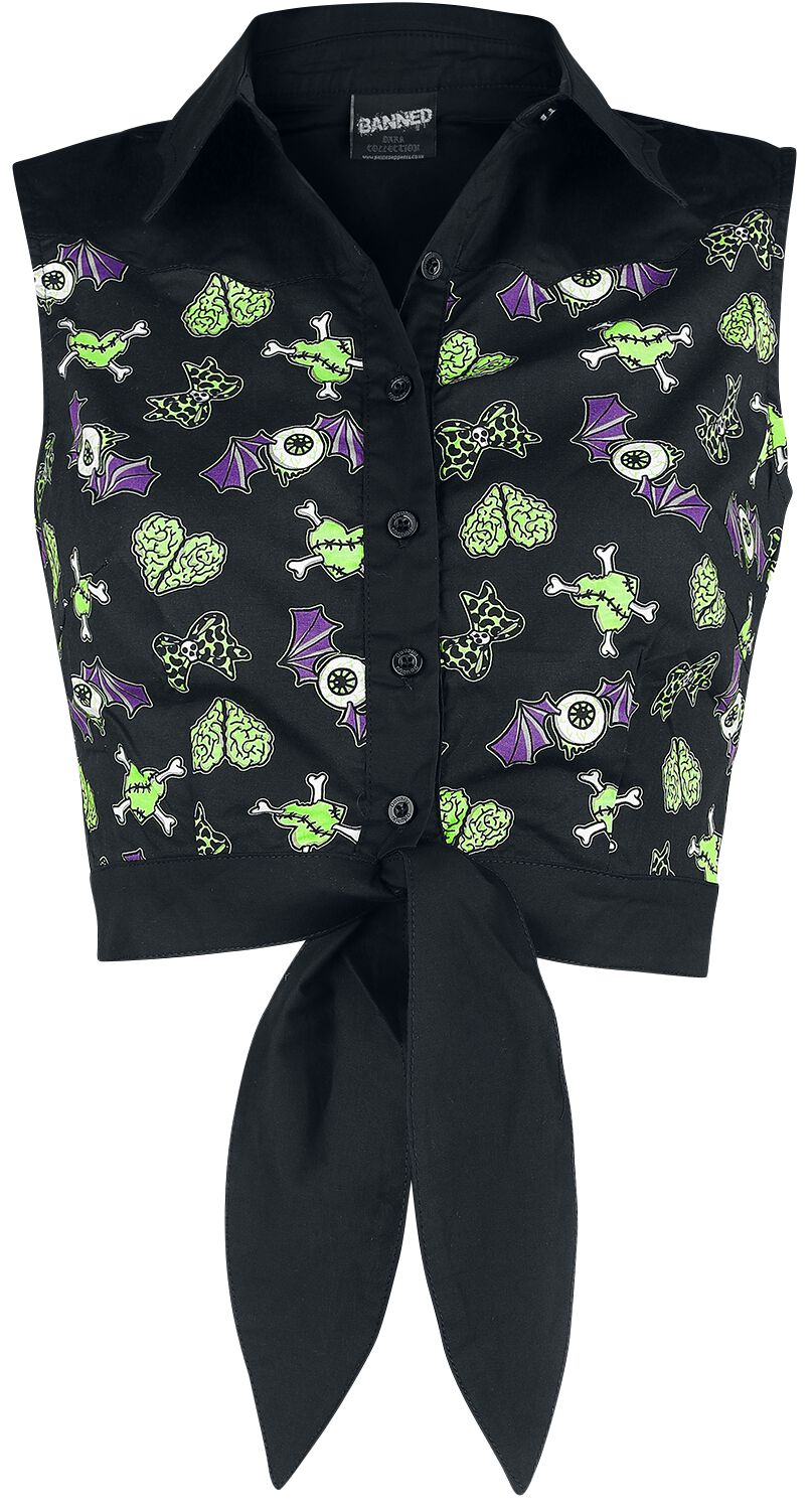 Image of Banned Retro Midnight Hour Cropped Shirt Bluse schwarz
