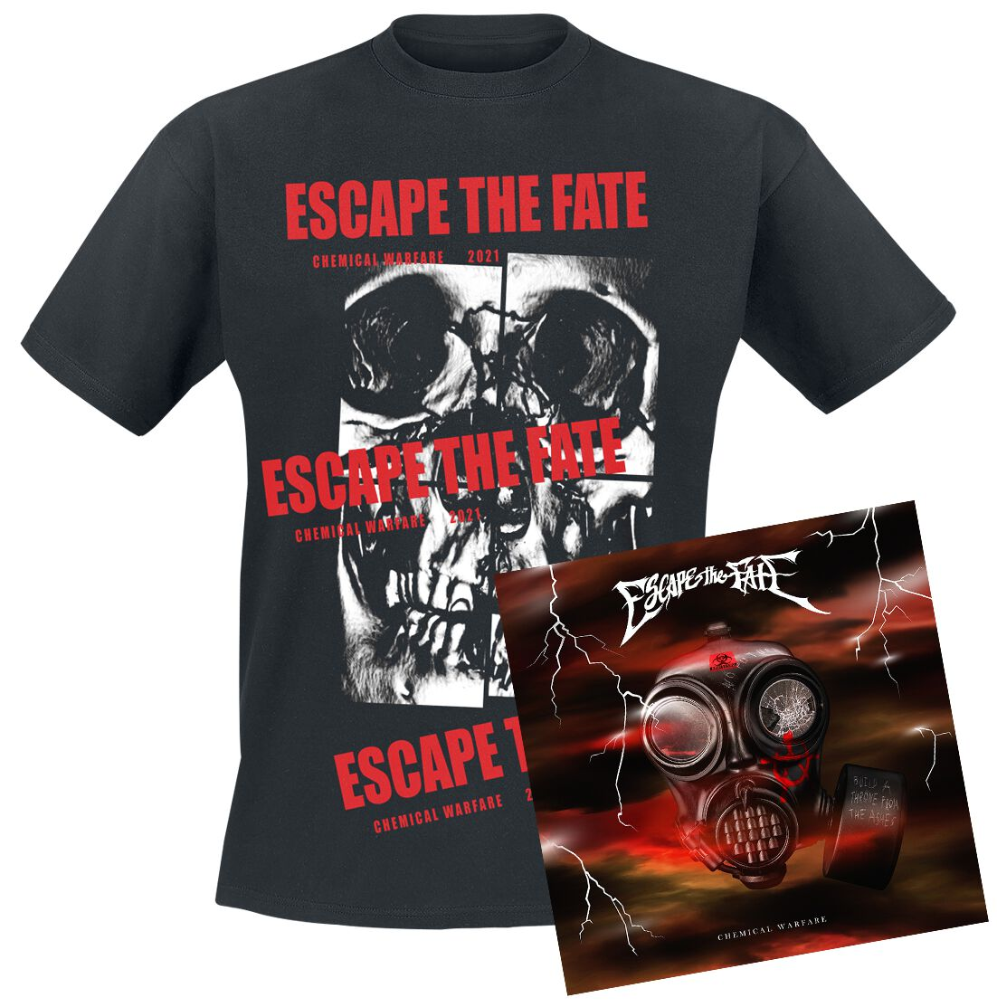 Image of Escape The Fate Chemical warfare CD & T-Shirt Standard