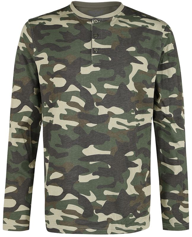 camouflage Longsleeve mit Knopfleiste