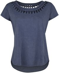 blaues T-Shirt mit Waschung und spezieller Schnürung