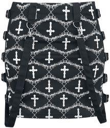 Gothicana X Anne Stokes - Schwarzer Minirock mit Muster und Riemen