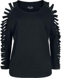 schwarzes Langarmshirt mit Cut-Outs